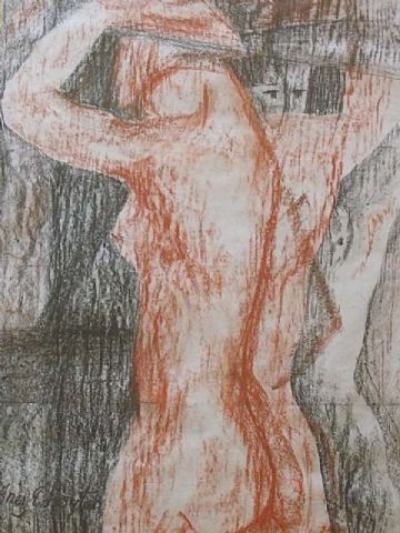 Inez Estelle Hoyton Original Pastel Painting Of A Nude Woman